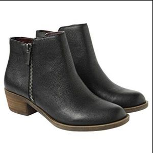 Kensie Women's Black Leather Ghita Ankle Boots
